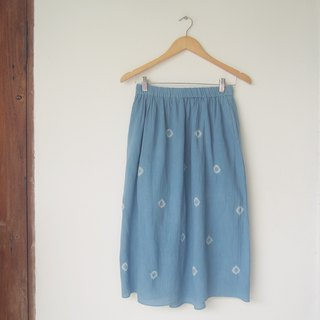 Indigo dot cotton skirt / with lining and pockets