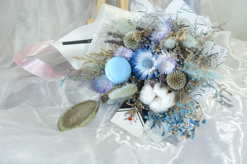[2018 graduation bouquet] sky blue macarons sweet growth models / graduates / dry bouquet