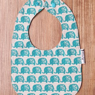 Double-sided bibs - blue-green elephant