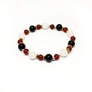 Jingjing guardian. Natural stone obsidian red jade marrow moonstone 925 pure silver beads brass beads