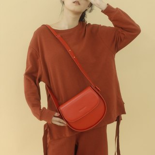 Small red imported top layer cowhide leather saddle bag original simple 2 way shoulder Messenger bag