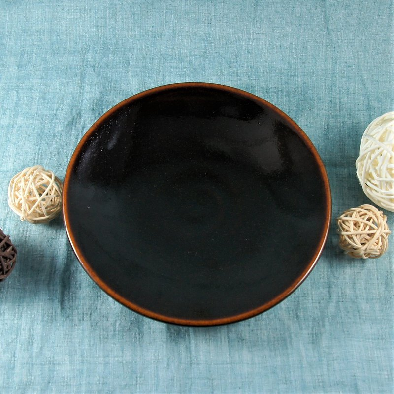 Black persimmon pottery plate, plate, dinner plate, fruit plate, snack plate - about 15.5 cm in diameter