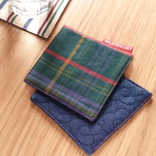 MILKTEALOGY handmade cotton coaster - green plaid