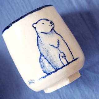 Polar bear parenting hand-painted white ceramic cup - customizable English name