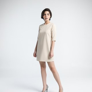 Victory shift dress (beige)