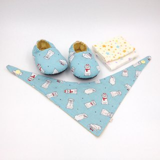 Christmas Pug - Miyue Baby Gift Box (toddler shoes / baby shoes / baby shoes + 2 handkerchief + scarf)