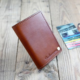 APEE leather handmade ~ portable card holder ~ plain brown