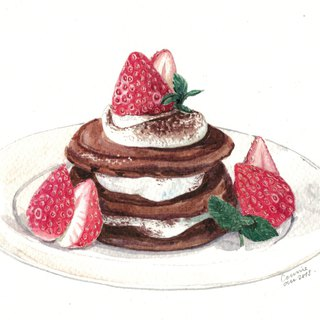 Original Watercolour Painting (A5) - Strawberry Pancakes