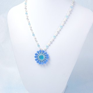 Blue Flower Freshwater Pearl Necklace, wedding jewelry, cute, elegant, 388-1-1