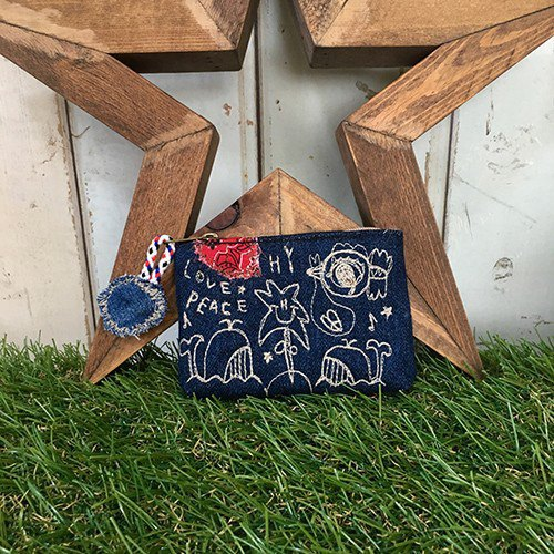Whale & Stork embroidery denim coin case (porch)
