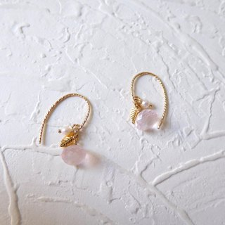 Pack of 14K gold fat pink crystal pearl leaflet earrings (can be changed)
