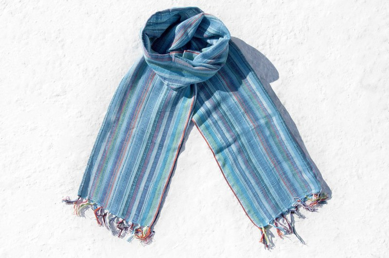 Hand-woven pure silk scarves, hand-woven scarves, hand-woven scarves, cotton and linen scarves - blue rainbow stripes