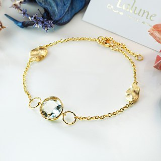【Lalune】 Constellation Xingchen color gold autumn leaves green crystal bracelet