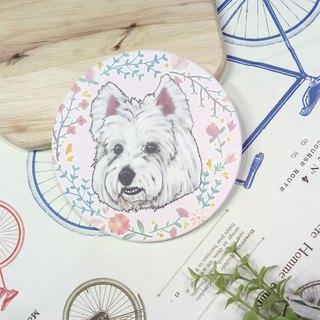 Customized (can add words) - Lace LOGO ~ Sketch West Highland White Terrier - Water Cup Coaster ~ Ceramic Coaster