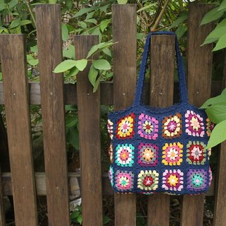 Hand made - Grandmother garden woven bag - shoulder bag