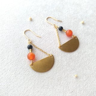 E018-Shake-Brass Agate Pin/Clip Earrings