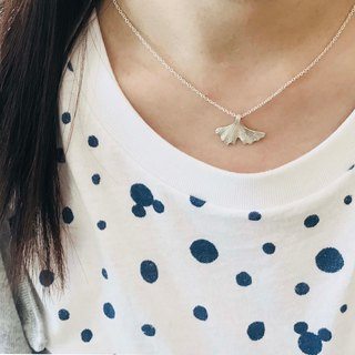 Handmade ginkgo necklace - silver999