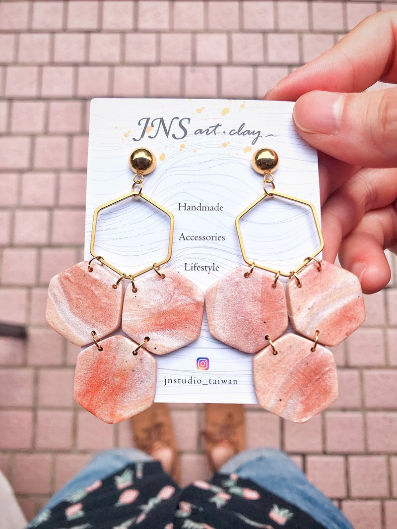 Soft clay earrings Clay earrings honeycomb earrings