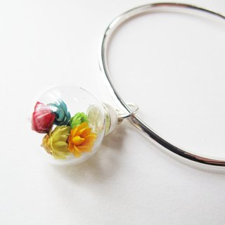 * Rosy Garden * Rainbow dried Daisies inisde glass ball on a sterling silver bangle