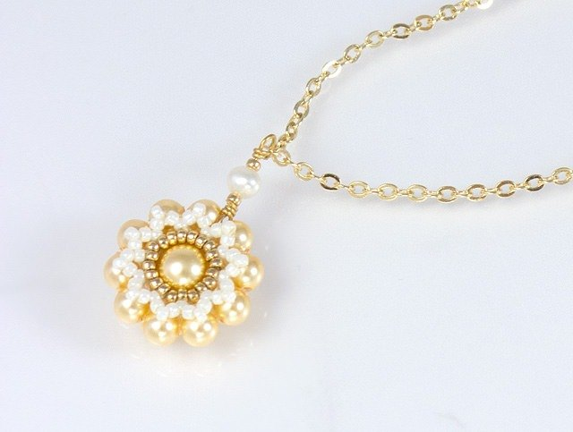 Yellow bridesmaid jewelry, floral pearl necklace, gift for her, 150-338