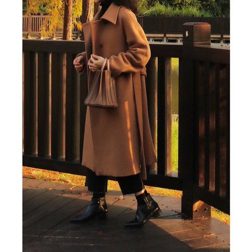 Costuras Coat classic cinnamon camel Kashmir wool coat coat (stock S a do not have to wait, can be customized other colors)