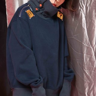 UF9193 Original 16AW fun appliqués ultra-loose long-sleeved high-necked dark blue Fleece thick sweater zipper decoration shoulder street style