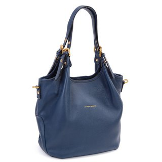 La Poche Secrete: Fashion girl's shoulder bag _ cowhide _ back _ jazz blue