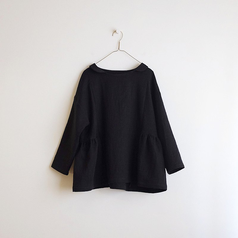 Daily hand-made clothes, black small collar, nine-quarter sleeves wide blouse, double cotton yarn