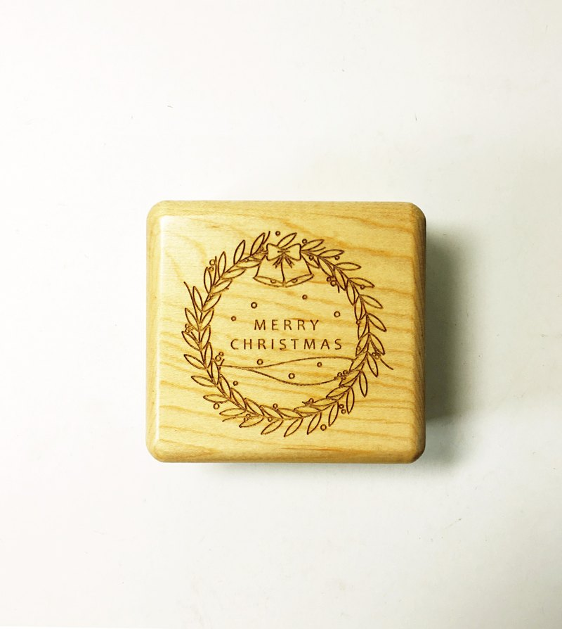 TAB Christmas limited wood music box / custom / lettering / wood / maple / hand-made / laser cutting / engraving / healing small objects / Christmas gifts / exchange gifts