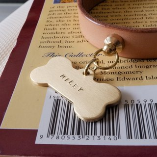 High-quality name tag in bone shape - Brass (2mm thick)