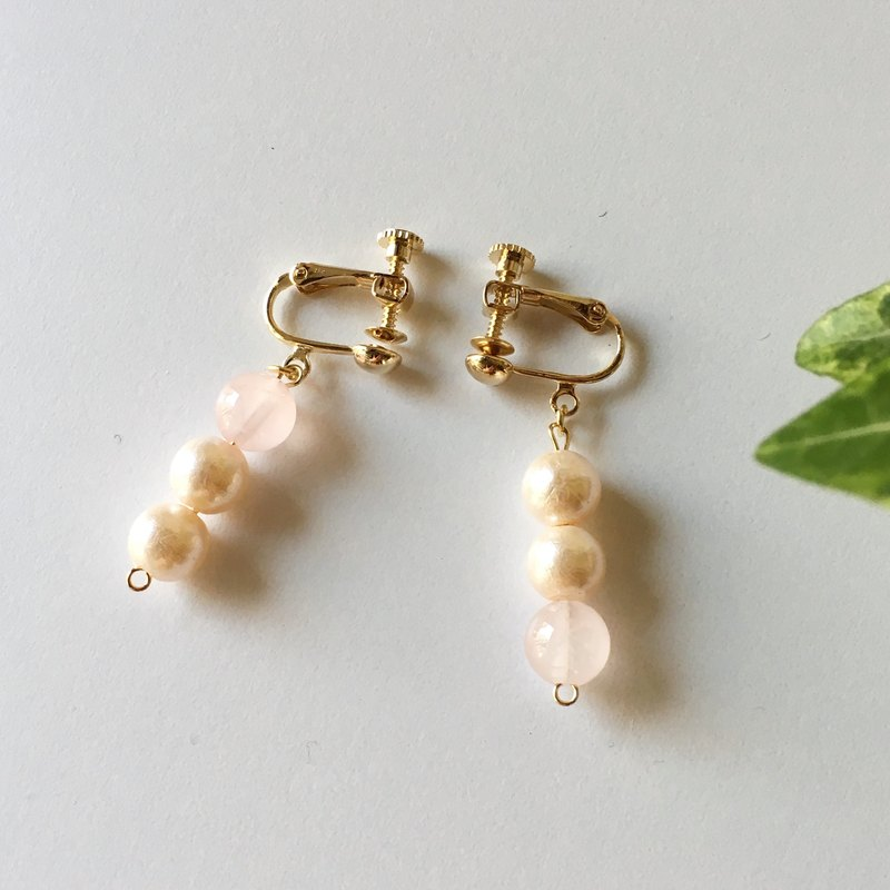 Rose Quartz and Pearl Beads 3 Earrings