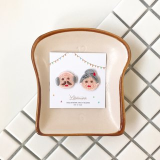 Littdlework embroidered earrings ear clip ear hook |