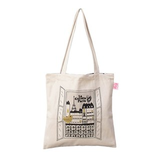 Paris small walk double-sided tote bag / shopping bag Vue sur Paris window of Paris