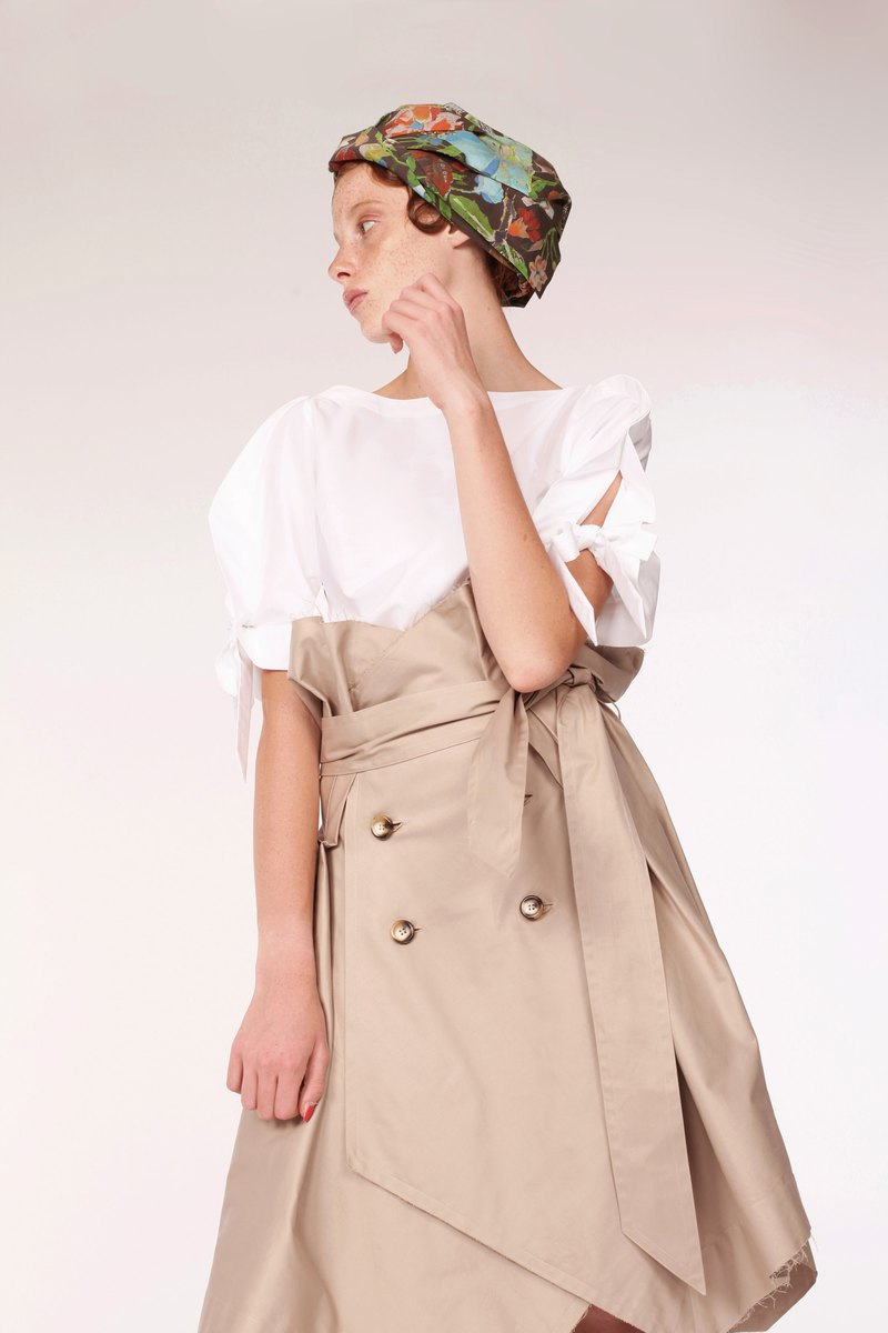 Cotton Trench Skirt / Beige/ Handmade in Japan