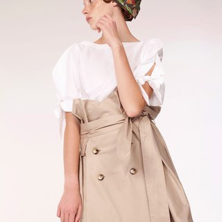 Cotton Trench Skirt / Beige/ Handmade in Italy