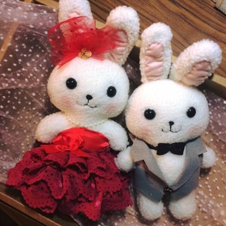 RABBIT LULU 【Rabbit doll rabbit wedding festive red wedding】 wedding gift. Wedding decorations. Bedding doll. The color of the car exposed dew rabbit
