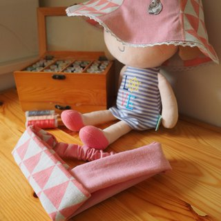 Handmade reversible pink rabbit and headband gift set