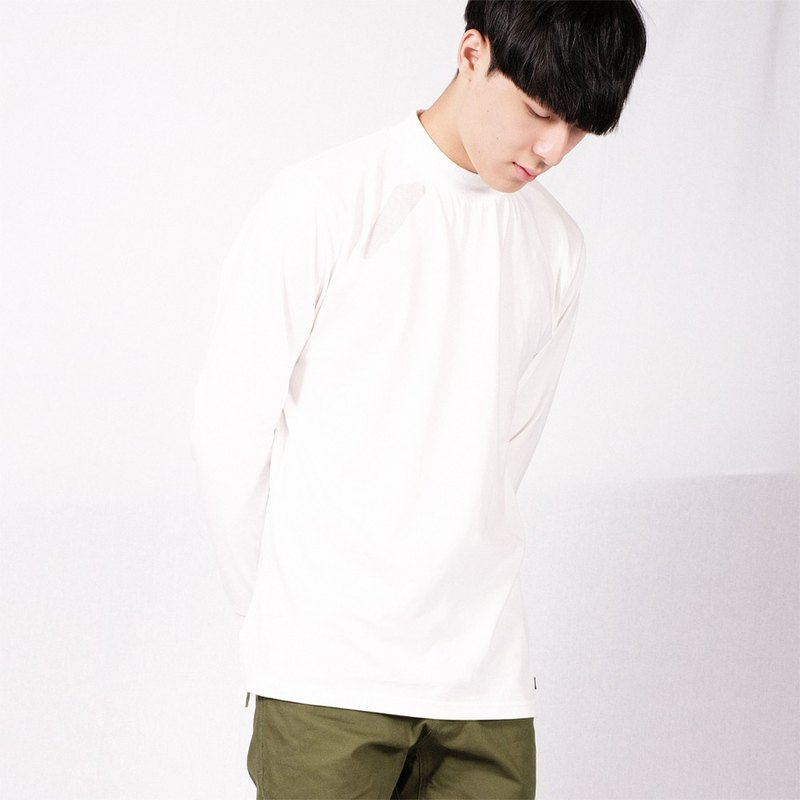 Half-necked long sleeve Tee Turtle Neck Tee / plain / simple