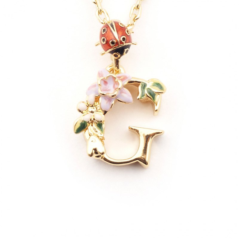Floral English Letter G Necklace