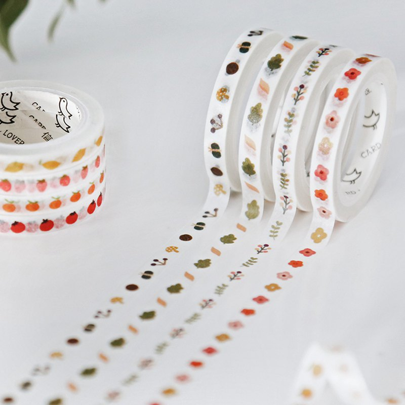Letter lover's pocket and paper tape set small world slim fine plants cute small fresh material