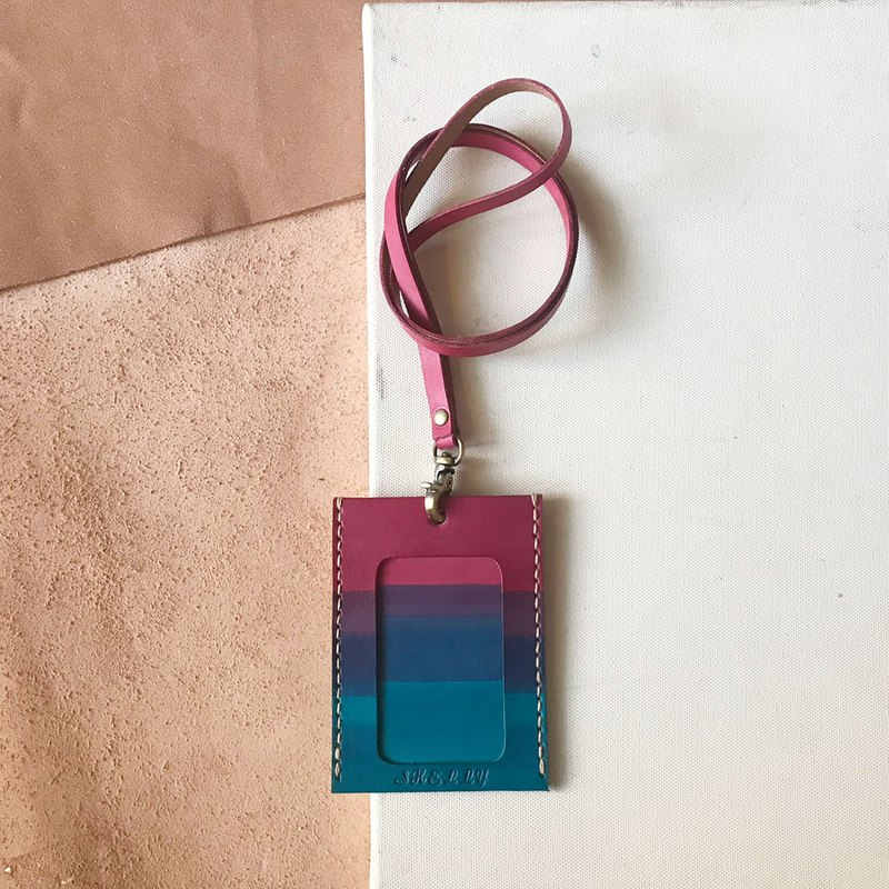 Identification Card Set + Neck Strap _ Straight _ Double Card Layer _ Rouge Powder Gradient Lyon Blue _ID Holder