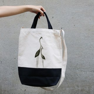 Dual black canvas bags │ mood black bird │Chien│
