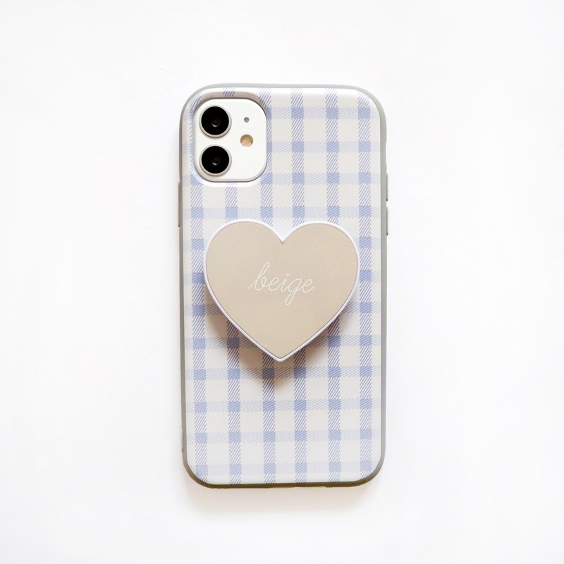 French blue grid love bracket mobile phone case