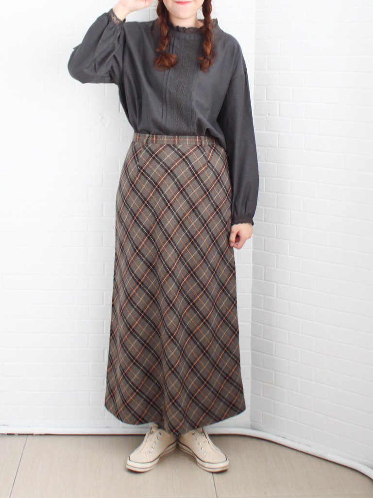 Retro early spring Japanese college style pattern gray loose wool vintage narrow skirt long skirt