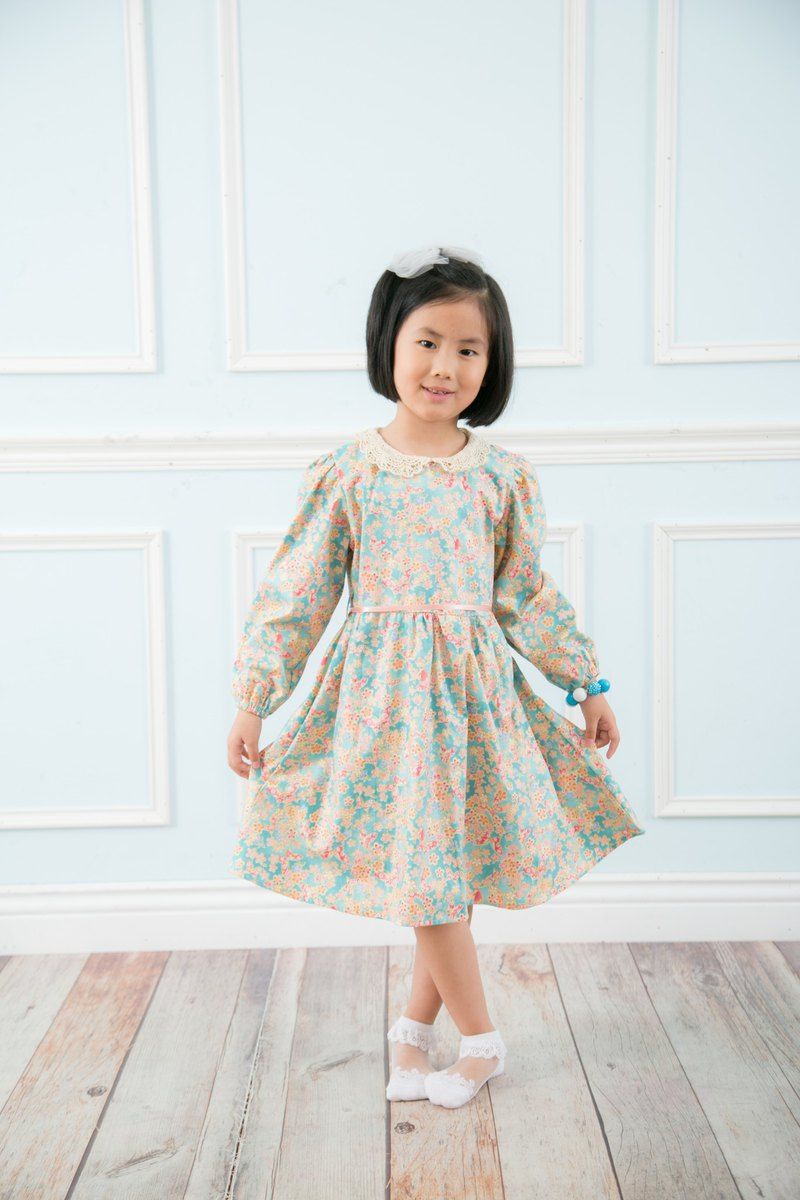 Cutie Bella Cutout Lace Collar Long Sleeve Neck Strap Printed Dress Blue Green Butterfly Cherry Blossom