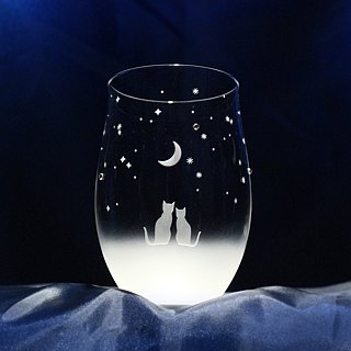 【Night sky of crescent moon to see together】 Cat motif tumbler glass vol.1