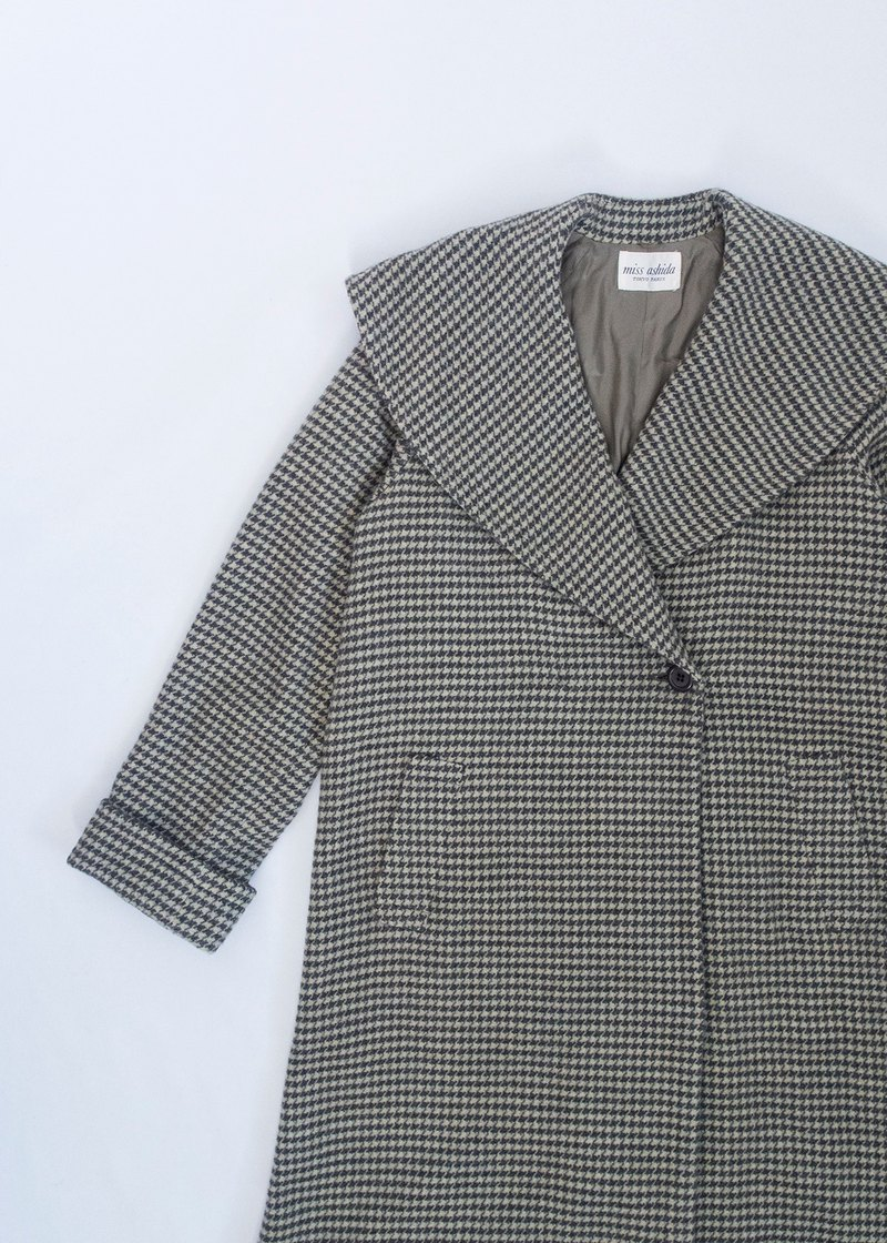 Banana Flyin 'Vintage wool coat houndstooth long lapel coat