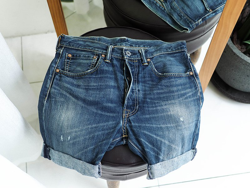 levis / 501 W31 Destroy brushed youth antique denim shorts self-modified vintage
