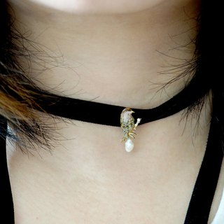 Handmade Jewelry Jewelry 珐琅 Cute Milk Tea Color Sparrow choker Short Neck Chain Collar Preorder