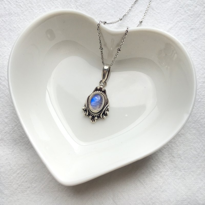 Moonstone 925 Sterling Silver Mirror Style Necklace